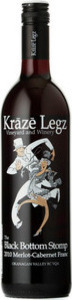 Kraze Legz Vineyard And Winery Black Bottom Stomp Merlot / Cabernet Franc 2012, VQA  Okanagan Valley Bottle