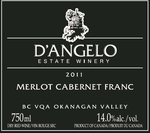 D'angelo Merlot Cabernet Franc 2011, BC VQA Okanagan Valley Bottle