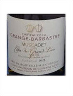 Chateau De La Grange Barbastre Muscadet Sur Lie 2013, Cotes De Grand Lieu Bottle
