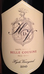 Hyde De Villaine Belle Cousine 2010, Napa Valley Bottle