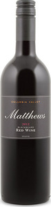 Matthews Blackboard Red 2012, Columbia Valley Bottle