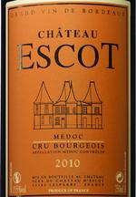 Château Escot 2010, Ac Médoc Bottle
