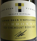 Tawse Chardonnay Quarry Road Unfiltered 2015, Vinemount Ridge Bottle