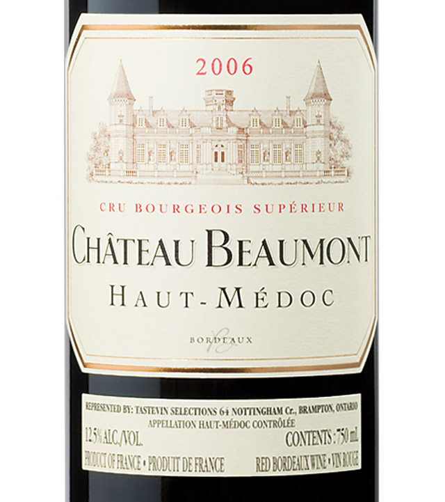 Ch teau beaumont 2006 expert wine ratings and wine for Chateau beaumont