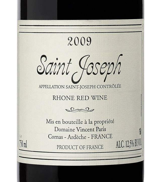 domaine vincent paris saint joseph 2009 expert wine ratings and wine reviews by winealign. Black Bedroom Furniture Sets. Home Design Ideas